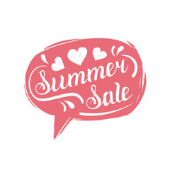 Summer Sale typography in speech bubble. Discount hand lettering card, poster. Vintage illustration of logo, label etc.