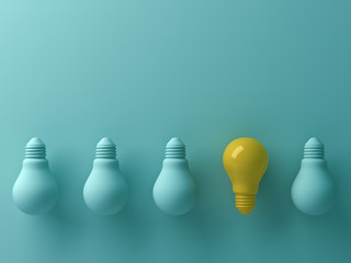 Think different concept , One yellow light bulb standing out from the unlit green incandescent lightbulbs with reflection and shadow , leadership and different creative idea concept. 3D rendering.