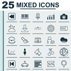 Set Of 25 Universal Editable Icons. Can Be Used For Web, Mobile And App Design. Includes Elements Such As Connectivity, Bush, Run Song Back And More.