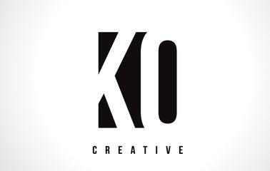 Obraz KO K O White Letter Logo Design with Black Square. - fototapety do salonu