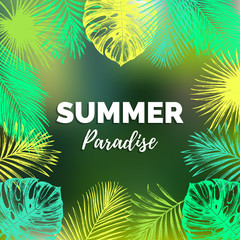 Vector vintage summer paradise illustration. Exotic palm leaves background. Hand sketched jungle foliage poster.