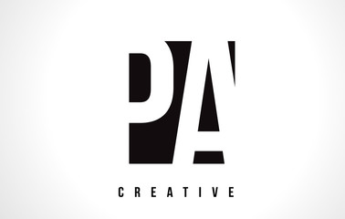 Obraz PA P A White Letter Logo Design with Black Square. - fototapety do salonu