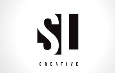 SL S L White Letter Logo Design with Black Square.