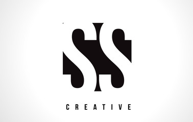 SS S S White Letter Logo Design with Black Square.