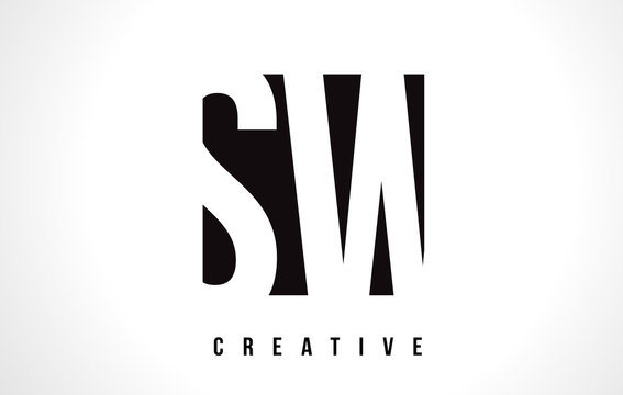 SW S W White Letter Logo Design with Black Square.