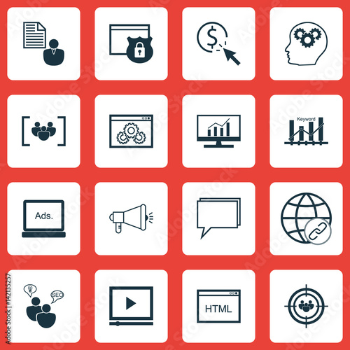 Set Of 16 Seo Icons Includes Questionnaire Security Web Page