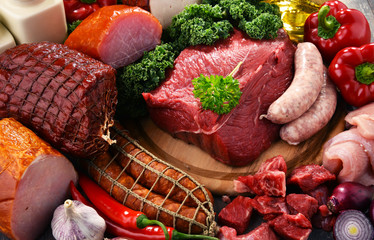 Photo sur Plexiglas Viande Variety of meat products including ham and sausages