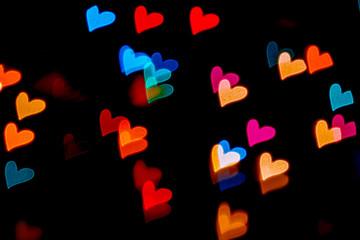 Flying hearts of Bokeh