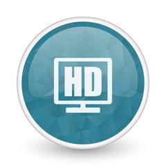 Hd display brillant crystal design round blue web icon.