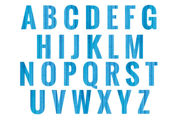Abc Blue wooden plank  Alphabet letters isolated on white background. Design - element.