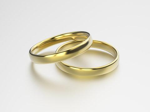 3D illustration gold wedding rings