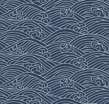 Japanese traditional pattern. Aranami. 荒波.