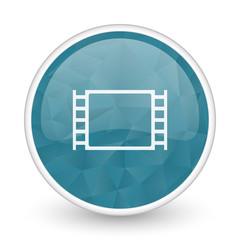 Movie brillant crystal design round blue web icon.