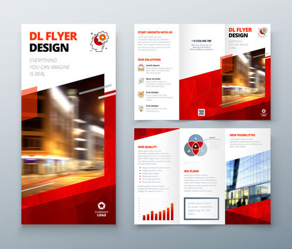 Tri fold brochure design. Red DL Corporate business template for try fold brochure or flyer. Layout with modern elements and abstract background. Creative concept folded flyer or brochure.