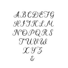 Handwritten font. Calligraphy alphabet. Hand lettering vector illustration