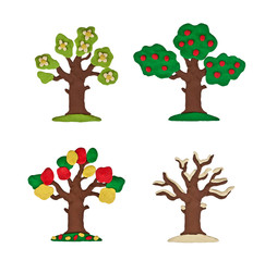Plasticine tree four seasons isolated on a white background