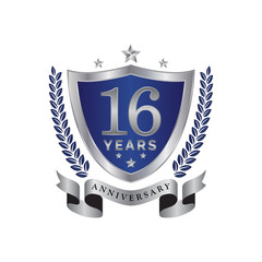 16th anniversary years shield blue silver color