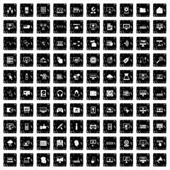 100 computer icons set, grunge style
