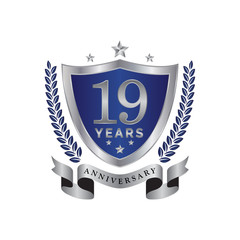 19th anniversary years shield blue silver color