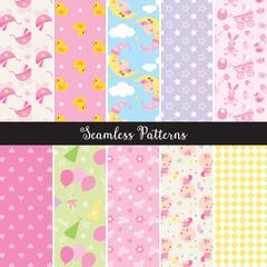 Vector illustration of seamless baby girl pattern set.