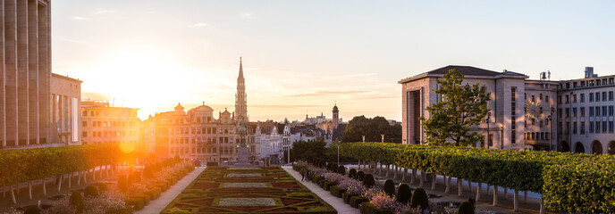 Foto op Plexiglas Brussel Cityscape of Brussels at sunset