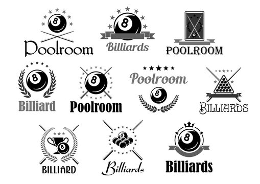 Billiards or pool room club vector icons set