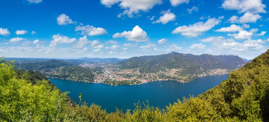 Panoramic view of lake Como in Italy