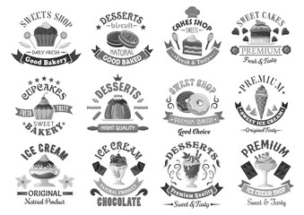 Bakery menu template desserts and cakes icons set
