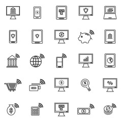 Online banking line icons on white background