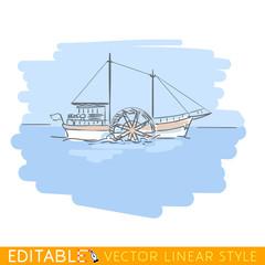 Paddle steamer, steamship or riverboat. Editable line sketch. Stock vector illustration.
