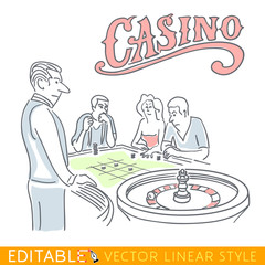 Casino Roulette funny caricature. Hand drawn sketch editable stock illustration.