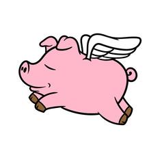 Cartoon Flying Pig Vector Illustration