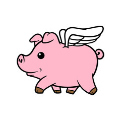 Cartoon Pig With Wings Vector Illustration