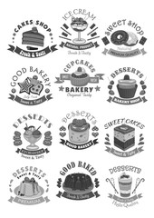 Bakery shop pastry and desserts vector icons