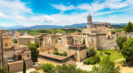 Wall Mural - Panoramic view of Girona