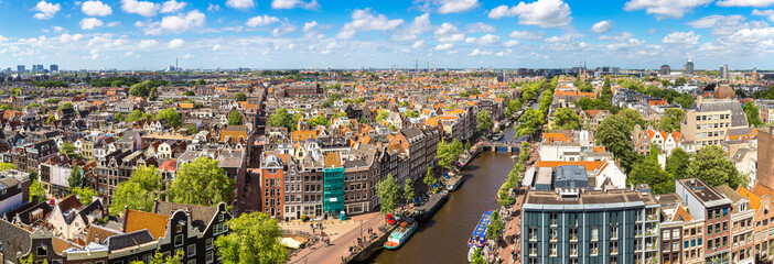 Spoed Fotobehang Amsterdam Panoramic view of Amsterdam