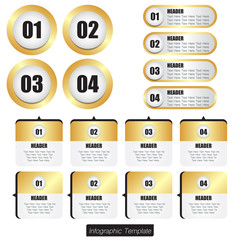 Set of infographic design in gold shade color.