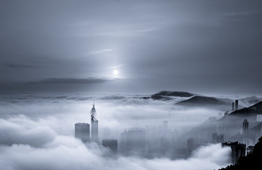 Foggy and Cloudy view of Victoria harbor at Hong Kong