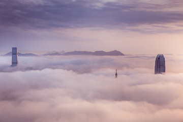 Foggy and Cloudy view of Victoria harbor at Hong Kong