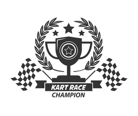 Karting logo champion cup, laurel wreath, stars and flags