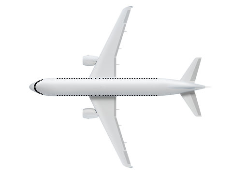 3d illustration of an airplane top view