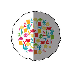 colorful sticker set of study icons in circle shape vector illustration