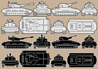 Military Equipment. Set of Armored Battle Tanks
