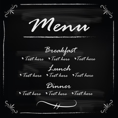 Blackboard with food menu frame template