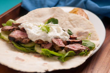 grilled lamb souvlaki wrap
