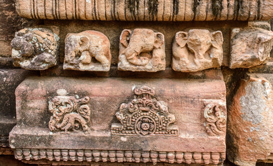 Stone carving on the wall of temples  in Bhubaneswar.India.