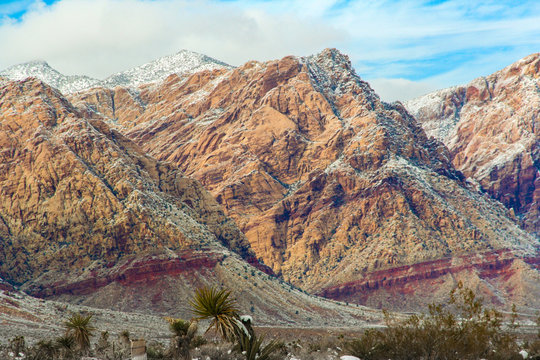 Red Rock Conservation Area Las Vegas Nevada Snowy Wintertime