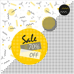 Sale poster with geometric shapes, circles, dots, triangles. Vector background in retro 80s, 90s memphis style.