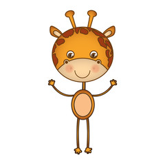 colorful picture cartoon cute giraffe animal vector illustration