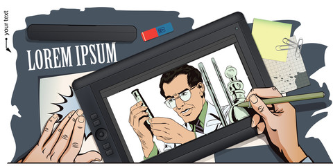 Scientist working at the laboratory. Stock illustration. People in retro style.